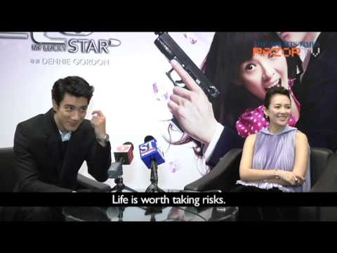 Zhang Ziyi rates Wang Leehom's pecs and kiss (My Lucky Star Pt 1)