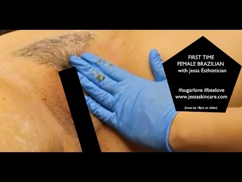 FULL Female Brazilian Waxing | First Time Brazilian Sugar Wax | Esthet...