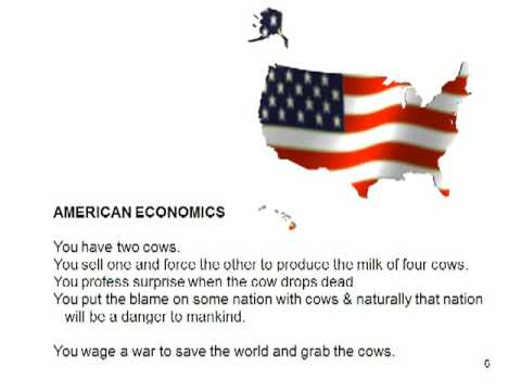 the cow theory of economics The two cows example of political philosophy begins with two cows feudalism: you have two cows your lord takes some of the milk pure socialism:.