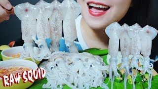 ASMR EATING RAW SQUID PLATTER CRUNCHY CHEWY EATING SOUNDS | LINH-ASMR #LINHASMR