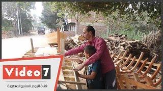 بالفيديو.. أسرار صناعة مراكب الصيد فى بير شمس بالمنوفية