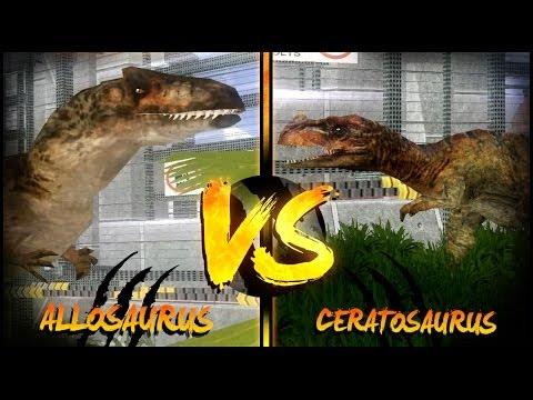 Dinosaur Battles - Allosaurus Vs Ceratosaurus (x2) | Jurassic Park : Operation Genesis