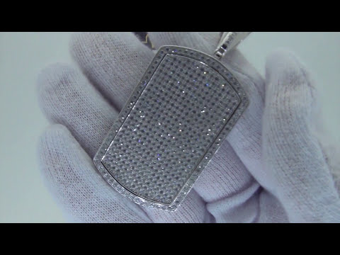 Micro Pave .925 Sterling Silver Dog Tags Bling Bling