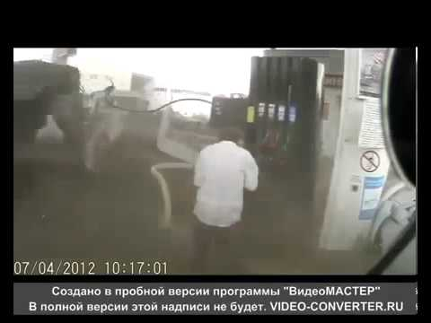 Man Escapes Death on Russian Gas Station