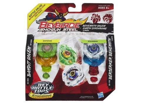 (CLOSED)Beyblade Shogun Steel Behemoth Golem Earth Synchrome 2-Pack Review Unboxing Giveaway