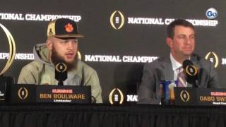 LB Ben Boulware pays respects to recent Clemson players who paved way #GateHouseCFP