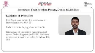 Promoters, their position, powers, duties and liabilities (Law)