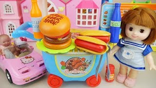 Baby doll and hamburger shop car cooking play