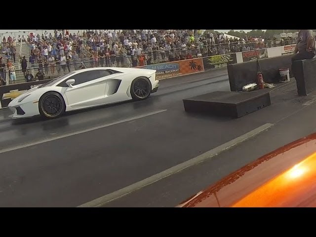 Lamborghini Aventador vs McLaren MP4-12C Drag Racing 1/4 Mile GoPro
