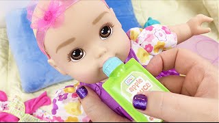 Honestly Cute Baby Doll from Target Changing into her Outfits with Snacks