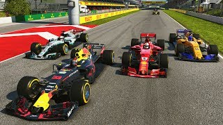 AWESOME 4-WIDE BATTLE WITH 4 DIFFERENT CONSTRUCTORS! F1 2018 Season Mod CAREER Part 5: Spain
