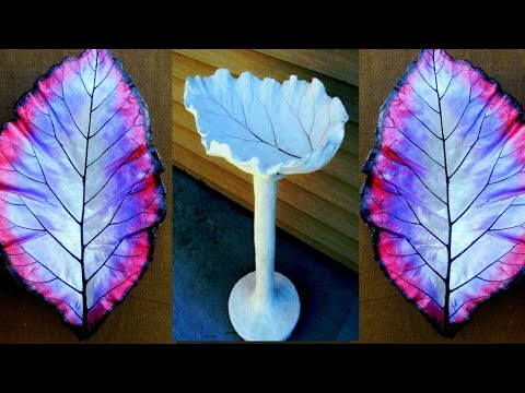 How to make cement Leaf pot   cement bowl with leaf   concrete leaf casting   cement leaves