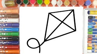 Kites Coloring And drawing for Children Learn Colors Step By Step | Easy Kite Drawing