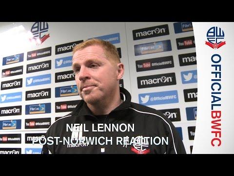 NEIL LENNON   Manager's post-Norwich City reaction