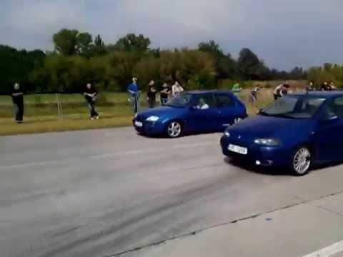 Drag race Citroen Saxo VTs 1,6 16v  VS Fiat Punto 1,4GT
