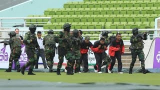 Bangladesh Army's Demo operation for security at Mirpur stadium