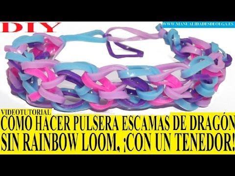 COMO HACER PULSERA ESCAMAS DE DRAGON DE GOMITAS ¡CON UN TENEDOR! SIN TELAR TUTORIAL ESPAÑOL DIY