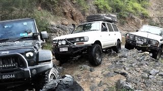 Crazy Toyota Land Cruiser 80, Jeep Wrangler JK and Nissan Patrol GQ offroad 4x4