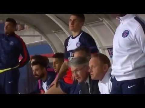 réaction du banc parisien durant le but de Javier Pastore