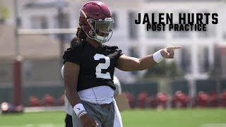 Jalen Hurts talks after first day of Alabama fall practice