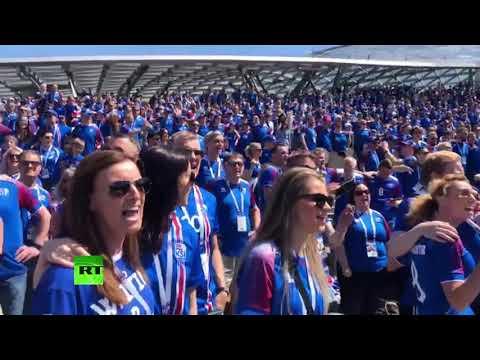 Болельщики сборной Исландии поют в парке «Зарядье» в преддверии матча с Аргентиной