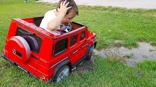 ALİ'nin AKÜLÜ ARABASI ÇAMURA BATTI! Car Stuck in the mud Power Wheels Ride Video for children