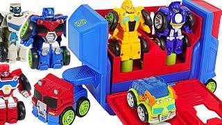Transformers Rescue Bots Academy Flip Racers Bumblebee, Optimus Prime Launcher! #DuDuPopTOY