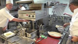 Busy kitchen at the 3 Michelin star restaurant Hof Van Cleve