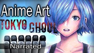 ~ Anime Art ~ Touka Kirishima Tokyo Ghoul DRAWING (Narrated)