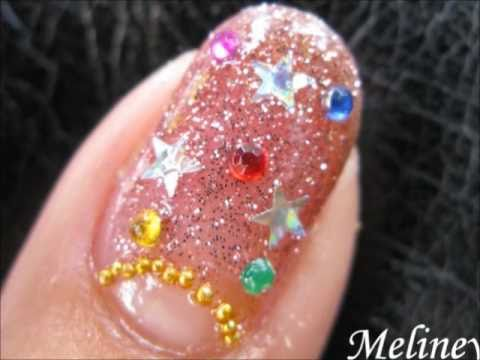 Christmas Nail Art Tutorial - Christmas Lights xmas Holiday Glitter Rhinestone nail Design
