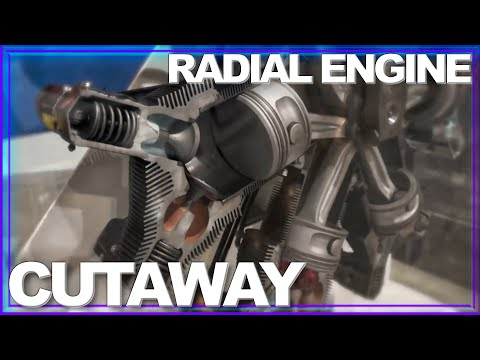 "How a Radial Engine Works - Amazing ""Cutaway in Motion"""