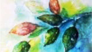 Colorful Leaves Watercolor Tutorial, no drawing needed, for beginners step by step