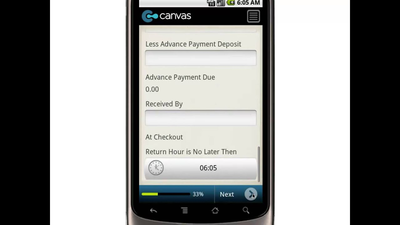 Canvas Recreational Vehicle Rental Agreement Mobile App