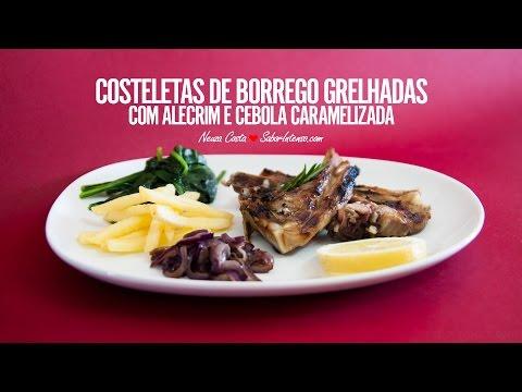 Receita de Costeletas de Borrego Grelhadas com Alecrim e Cebola Caramelizada