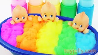 Learn Colors Triple Baby Dolls Color Foam Bubble Bath Time Kinder Suprise Eggs for Boys & Girls