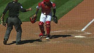 Molina has a baseball stick to his gear