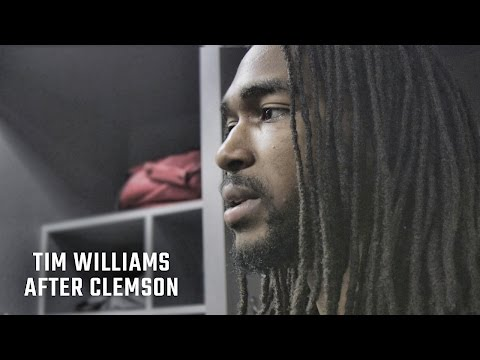 Hear what an emotional Tim Williams said after Alabama's loss to Clemson