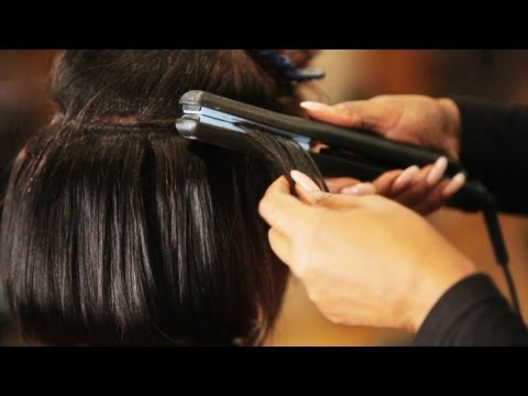 Quick Weave Tutorial: How to Flat Iron Hair Tracks | Black Hairstyles
