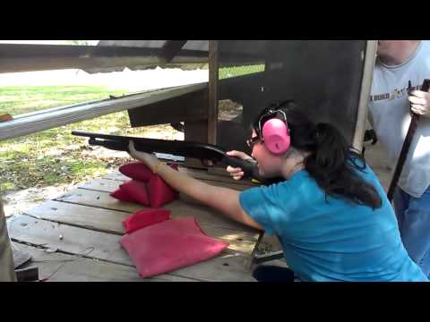 Wife Shoots Shotgun (Mossberg Maverick 88)  for the First Time