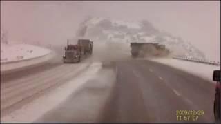 Semi truck sends snow plow over embankment in Utah canyon