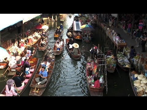 Floating Market, Thailand Asia . Stock Footage