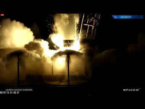 Launch of SpaceX Falcon-9 rocket carrying Asiasat-6 from CCAFS