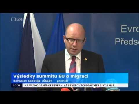 Premiér Sobotka přednesl prohlášení EU k uprchlíkům