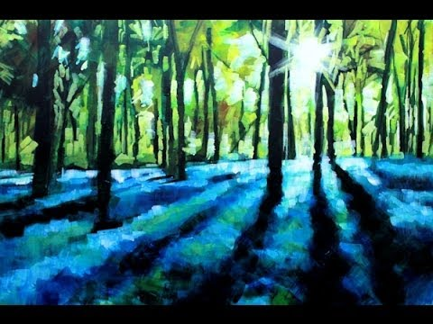 How to paint with acrylics on canvas abstract landscape for Painting a forest in acrylics