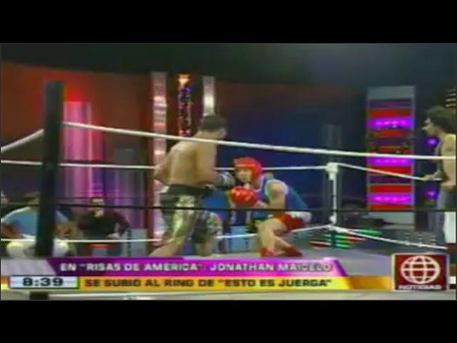 Jonathan Maicelo se subio al ring de Esto es juerga en Risas de America