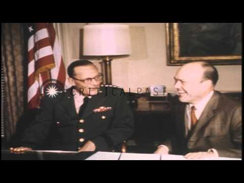 US Secretary of Defense Melvin R Laird seated at a desk in the office at the Pent...HD Stock Footage