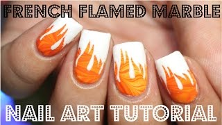 French Tipped Flame Water Marble Nail Art 31DC2015 Day 2 Orange