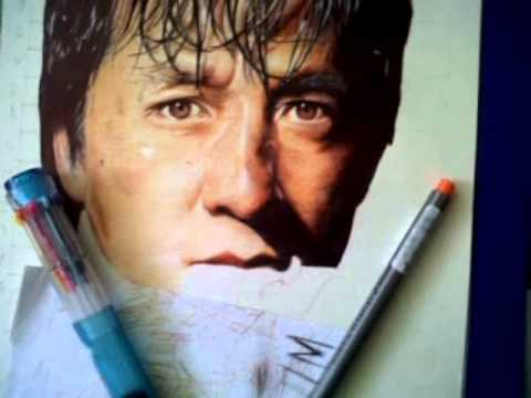 BALLPOINT PEN DRAWING jackie chan BY: ARTHUR T. CORTEZ  (drawing tutorial)