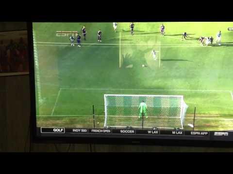 David Villa with New York City Penalty miss.