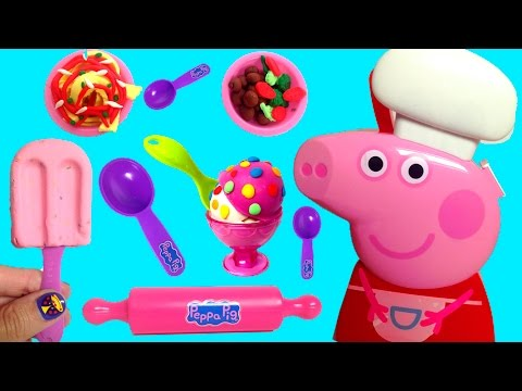 Peppa Pig Cooking Play Set Play Doh Food Ice Cream Playdough Chef Peppa Pig Cooking Set Carry Case video